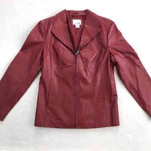 East 5th Genuine Leather Jacket - Red